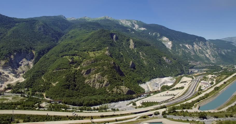 4K Aerial, Flying along Autoroute De La Maurienne, France - Graded and stabilized version. Watch also for the native material, straight out of the camera.