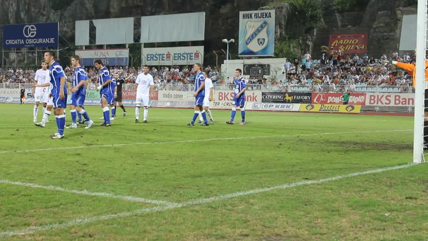 "RIJEKA, CROATIA - AUGUST 26: Soccer match between ""HNK Rijeka"" and ""HNK Sibenik"", Damir Kreilach scoring a goal, HNK Rijeka player (First Croatian Football League) on Aug 26, 2011.  in Rijeka, Croatia."