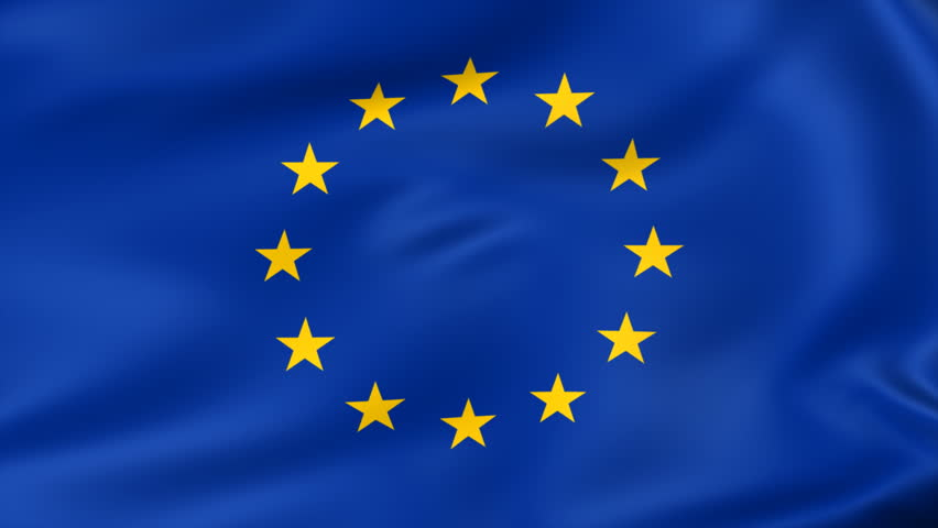 animated flag of european union - seamless loop