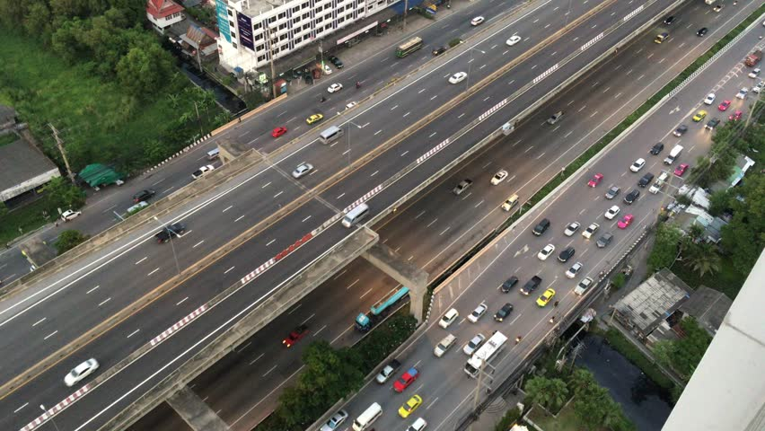 Aerial shot of traffic on tollway or express way in East Bangkok area, transportation concept, High quality footage 4K #18913685