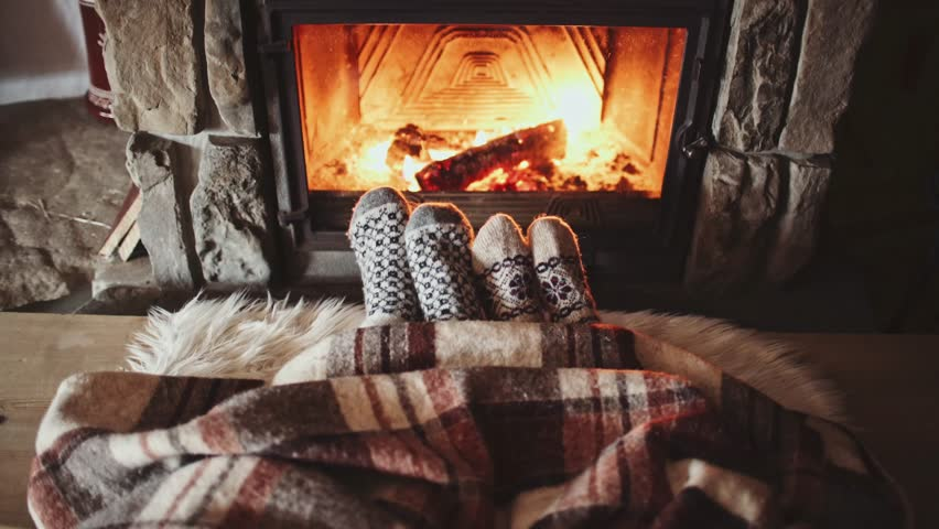 Cozy By The Fireplace Couple Feet In Woollen Socksthe Cozy Fireplace 4Kman And