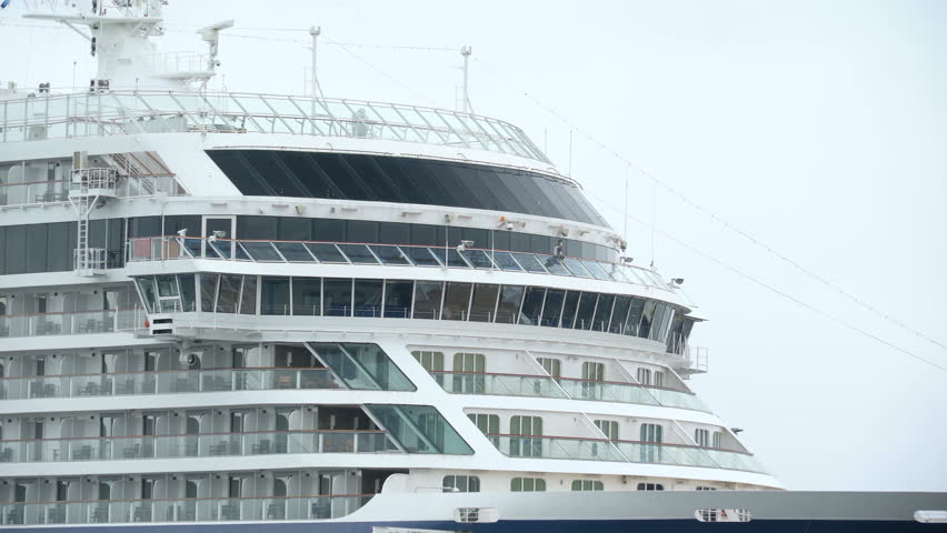 4k0008The Modern Cruise Ship On The Port It Has Windows And Grills Front