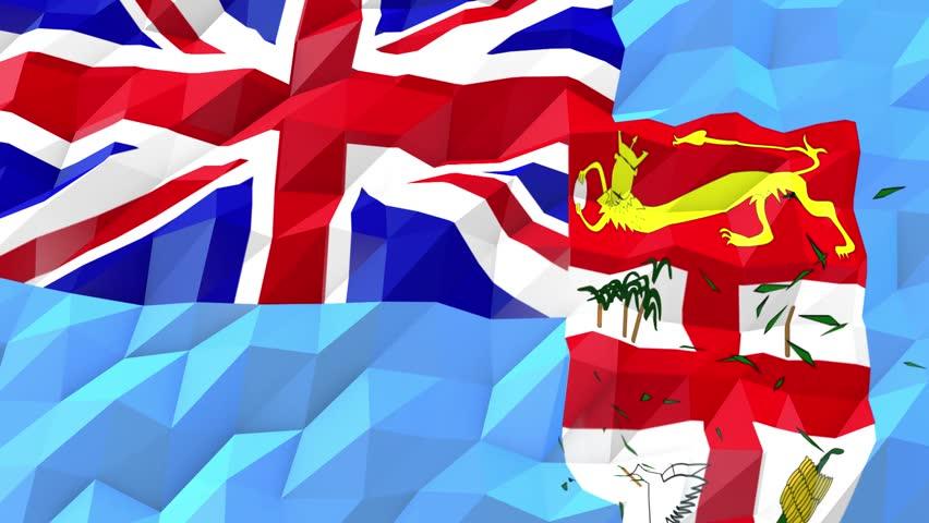 Flag Of Bermuda Waving At Wind In Slow With Blue Sky Loop