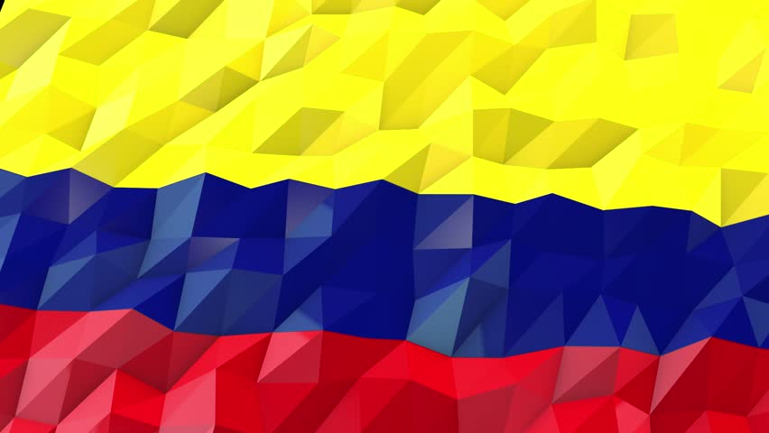Flag of Colombia 3D Wallpaper Illustration, National Symbol, Low Polygonal Glossy Origami Style