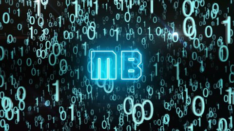 Seamless looping animation with the word MB composed into falling bluish binary code