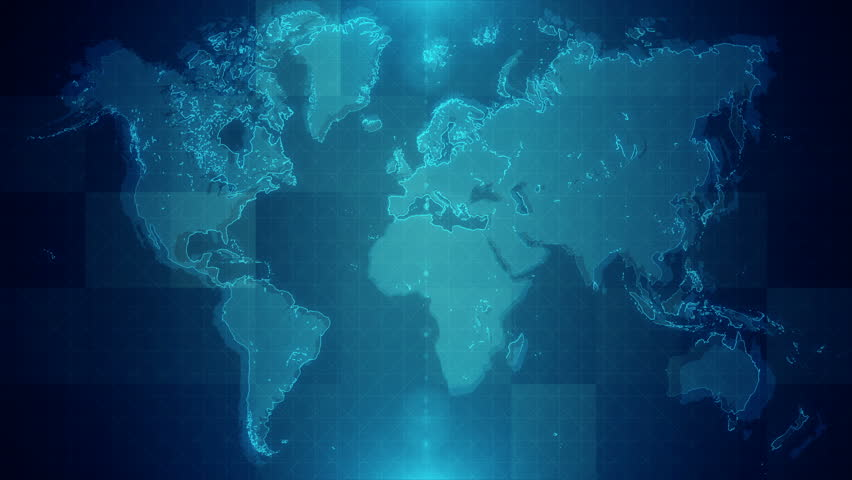 Background world map. Video background with animated world map and code.