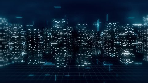 Computer generated, loop ready 3D financial city flight animation. Blue theme.