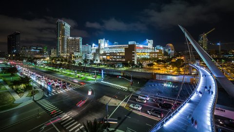 San Diego, California, USA - August 19th 2016 - Downtown San Diego Night Timelapse near Petco Park Stadium, Traffic, Trolley and Freight Train - Wide