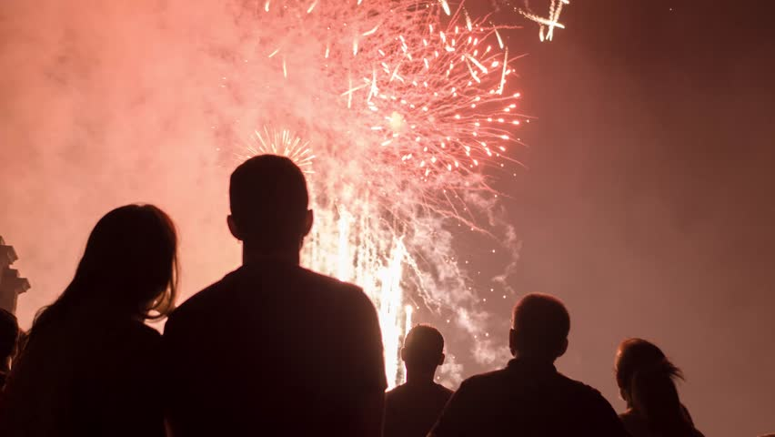 Romantic Young Couple Silhouette Watching Fireworks Hugging Love Relationship Celebration Concept | Shutterstock HD Video #19037365