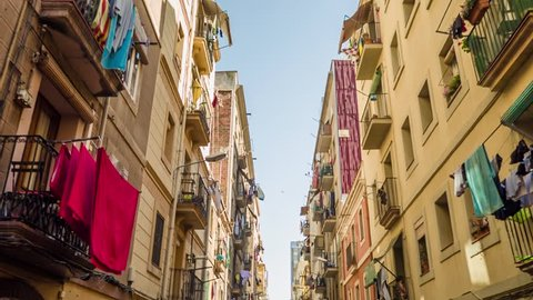 BARCELONA, SPAIN - CIRCA JULY 2016: Apartment building streets in Barcelonita area.