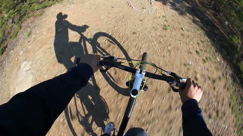 Fish eye of a bike ride in the forest. Cyclist point of view