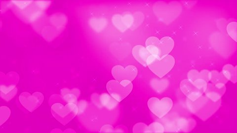 Animated HD motion background video loop - Pink big hearts floating (valentine)