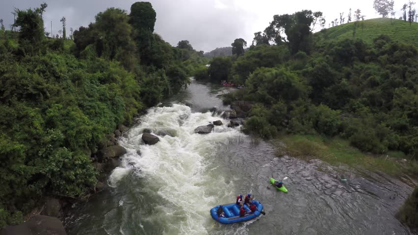 Aerial View of White Water Rafting
