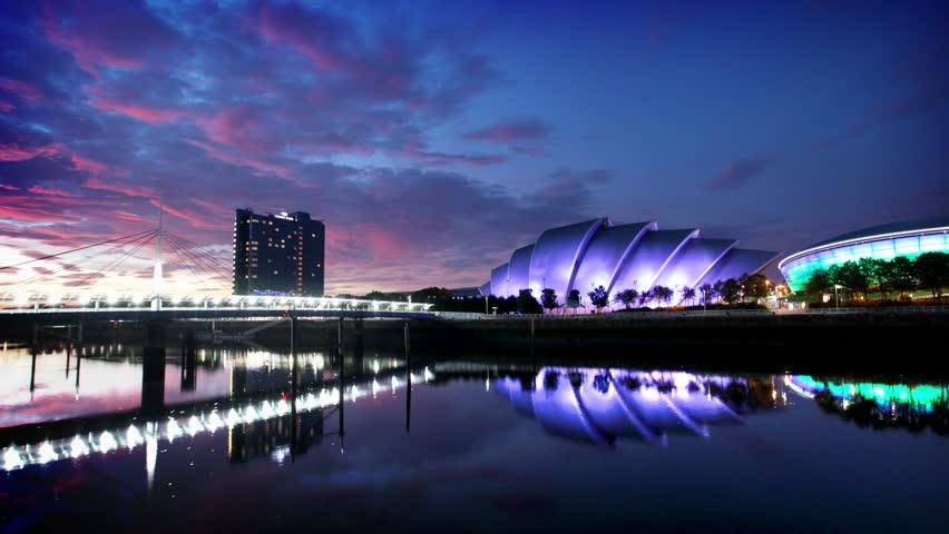 Timelapse of River Clyde at dusk, Glasgow, Scotland
