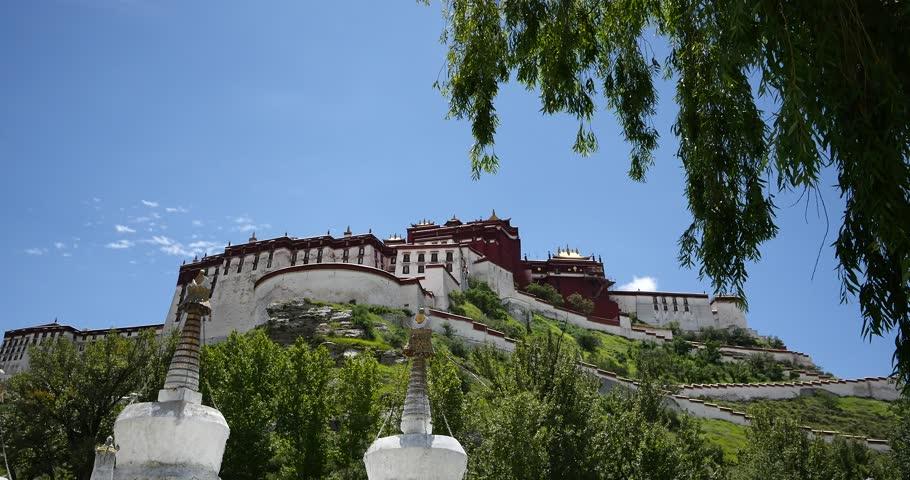 4k Potala & white stupa in Lhasa,Tibet. gh2_08886_4k