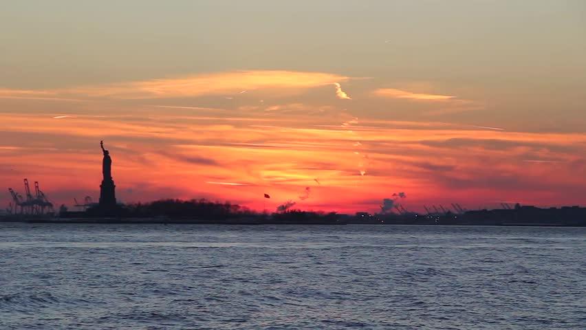 New york statue of liberty silouette sunset. | Shutterstock HD Video #19203265