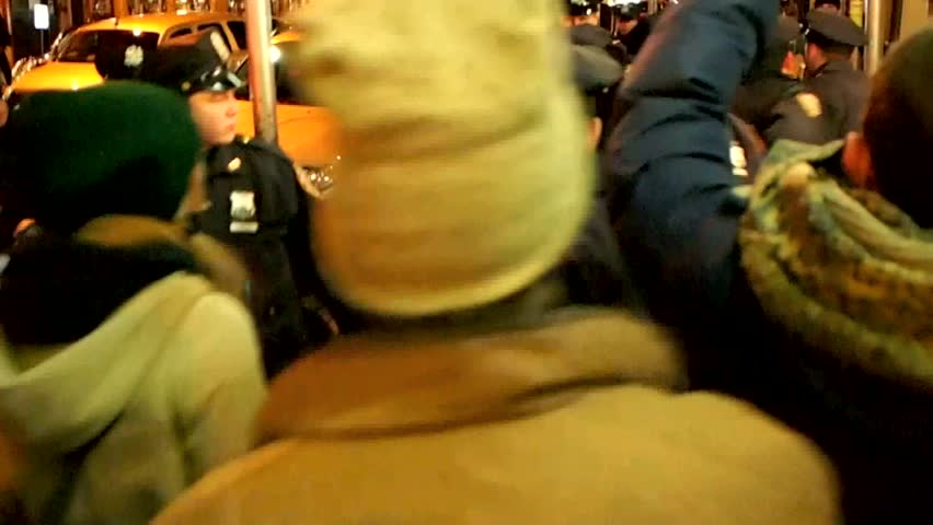 NEW YORK - JANUARY 29: Occupy Wall Street protesters clash with police January 29, 2012 in New York City.