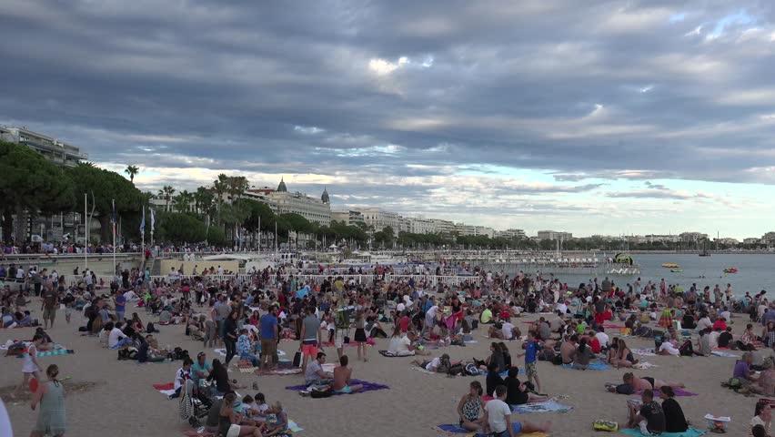 CANNES FRANCE Circa Beach Goers Enjoying Sunshine And - The 11 best urban beaches in europe