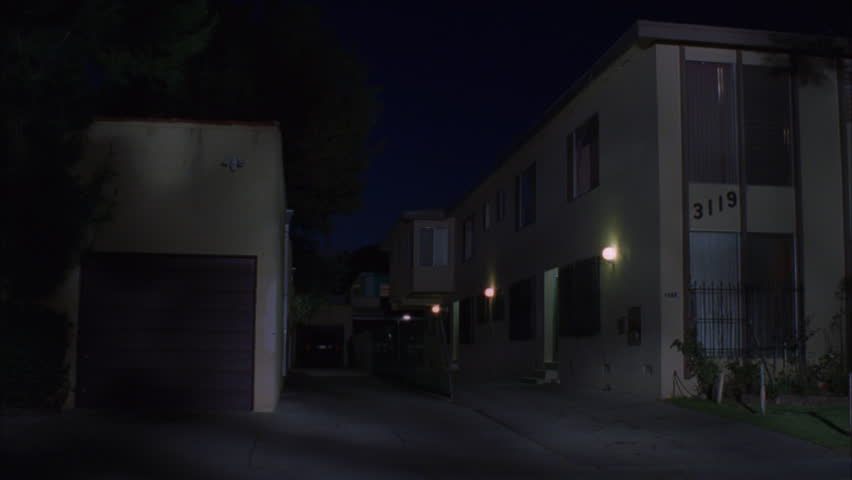 Apartment Inside Night empty evacuated broken house apartment, interior.panning inside a