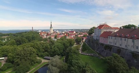Estonia. Tallinn. The wiring on the Quad from the bottom up near the town hall. Panorama of the city
