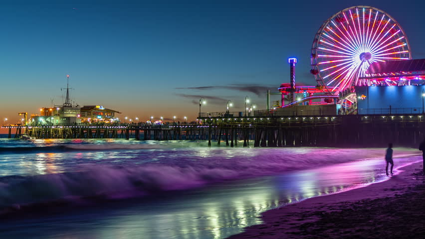 View Of The Santa Monica Pier In Los Angeles At Sunset Timelapse California