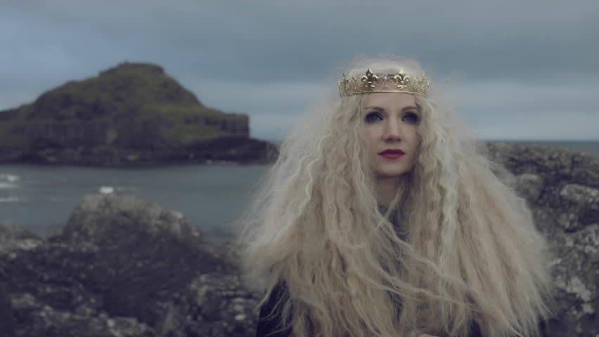 4k Fantasy Shot on Giant's Causeway of a Queen Looking up   Shutterstock HD Video #19275505