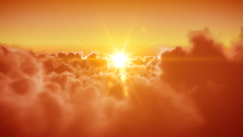 Beautiful Flying over the Clouds with the evening (morning) Sun. Seamless 3d animation. HD 1080. | Shutterstock HD Video #1927591