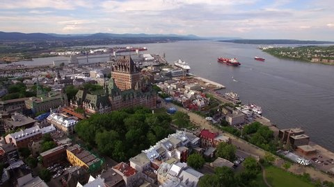 Quebec City with Chateau Frontenac castle and Old Port in Quebec, Canada, aerial view.