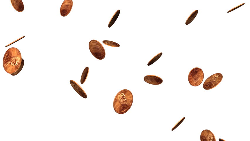Looping--pennies falling from above on white background. Loops for endless backgrounds