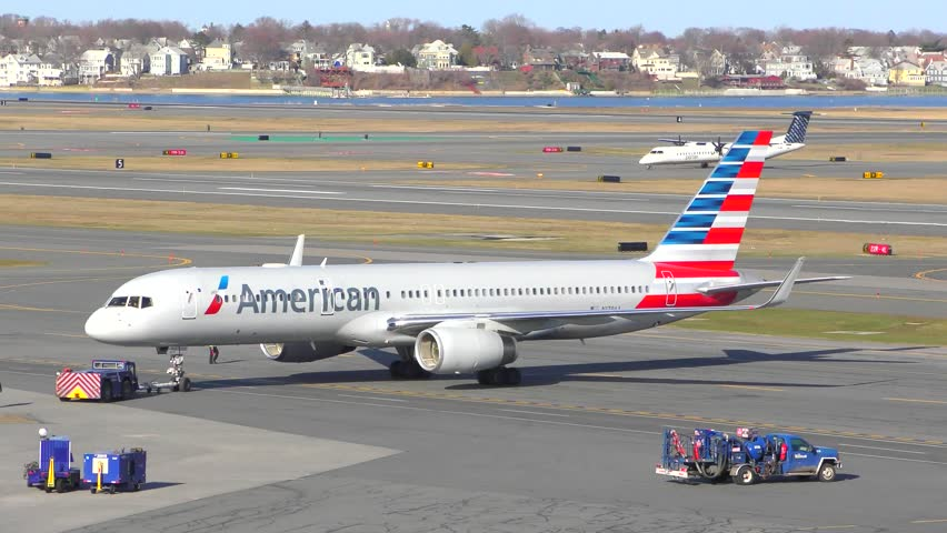 Stock Video Of Logan Airport Boston Massachusetts Usa