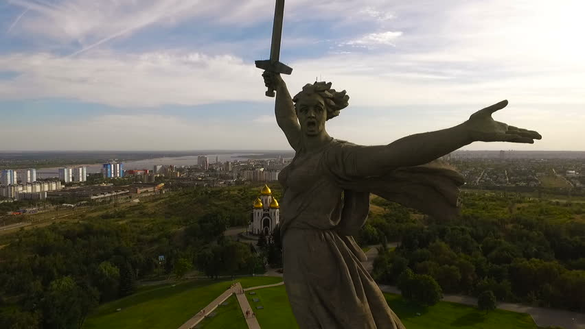 Volgograd. Historical Memorial Complex Mamayev Kurgan Sculpture The Motherland Calls. Aerial View | Shutterstock HD Video #19336735