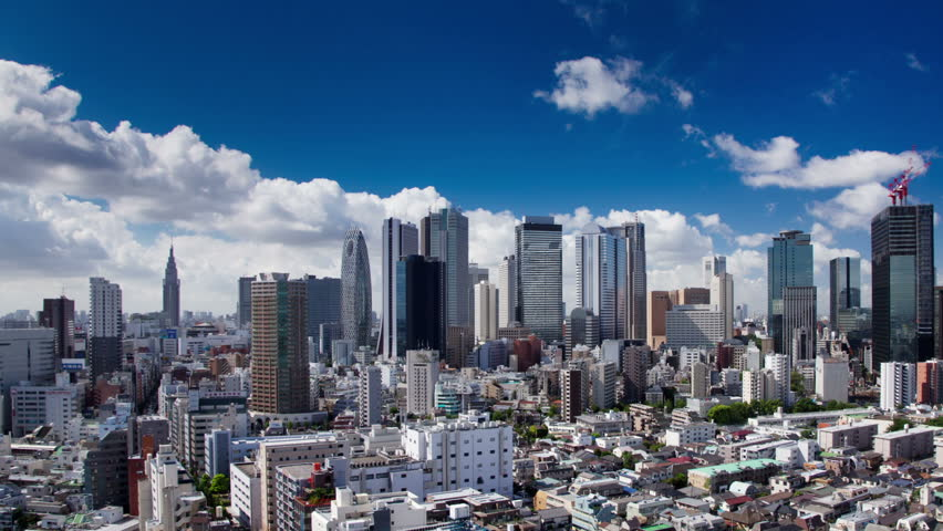 Time Lapse of the Shinjuku Skyscraper district in Tokyo Japan.