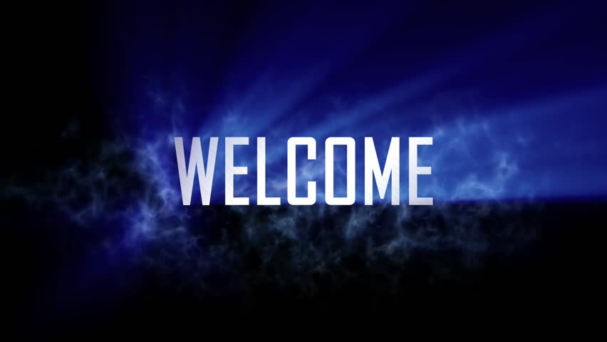 """Welcome title, intro. 10 seconds loopable intro with cloud of smoke and rays of light. Light rays pass through the word """"Welcome"""" and smoke. Black background and blue rays of light. 