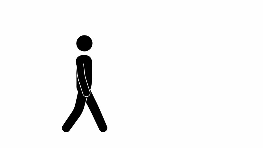 Pictogram man walks, stops, looks up.