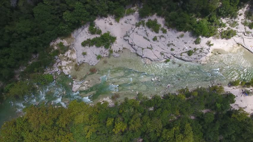 Aerial View of Barton Creek and Tree Tops with People Swimming Below in Austin, Texas | Shutterstock HD Video #19443205