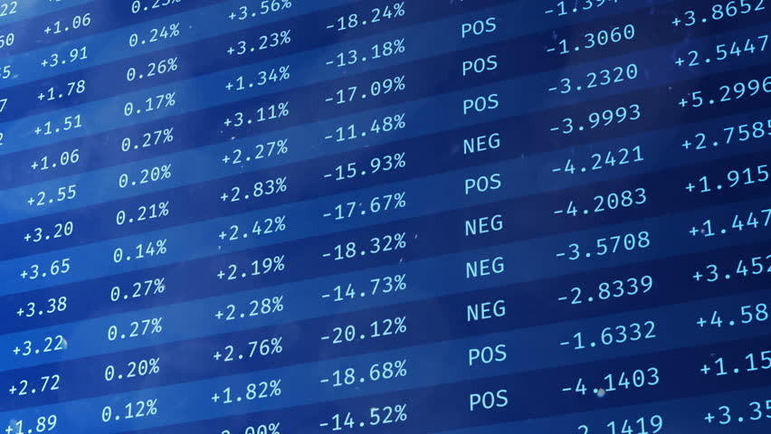 Stock exchange financial data moving on screen, economic indices rising, falling. Electronic chart with stock market fluctuations   Shutterstock HD Video #19461205