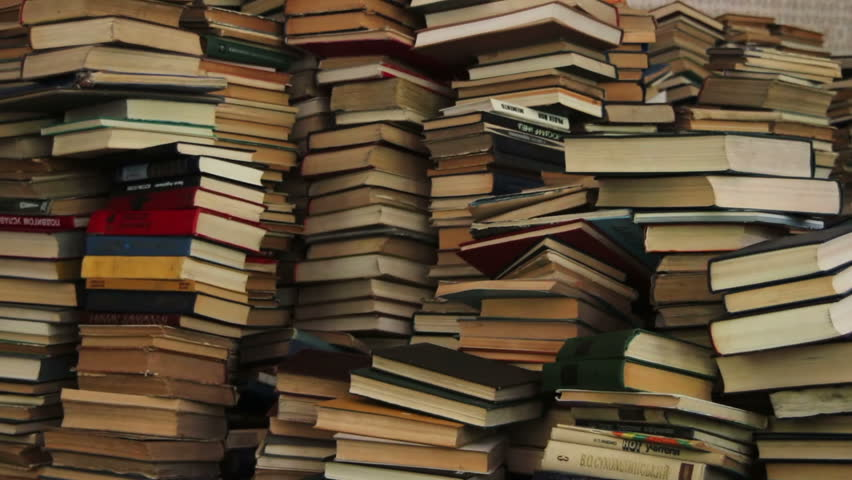 Stack of Books Scattered on the Floor in the Library | Shutterstock HD Video #19463155