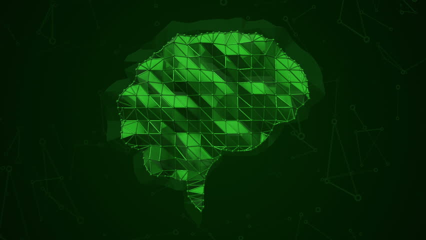 Abstract background with animation symbol of brain from metallic net. Animation of seamless loop.