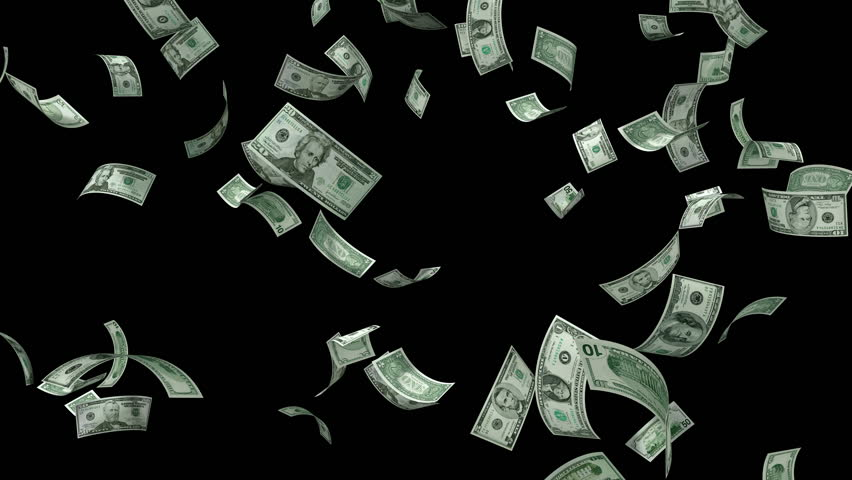 Money Falling - Dollar bills falling down from the sky. All denominations of American currency including $1, $5, $10, $20, $50, and $100. Alpha channel included.