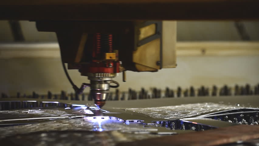 High precision  and high technology Laser machine working cut on curve metal sheet with Sparks fly from laser   Shutterstock HD Video #19550482