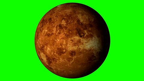 Venus Rotating, The Venus Spinning, Full Rotation, Seamless Loop - Realistic Planet Turning 360 Degrees on Solid Green Background