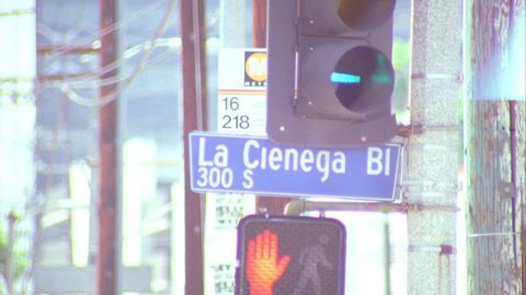 day street sign, La Cienega Bl 300 S, Los Angeles