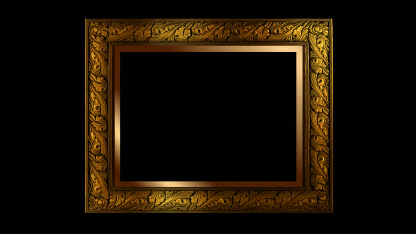 Gold Picture Frame With Diamond Sparkle Highlights Stock