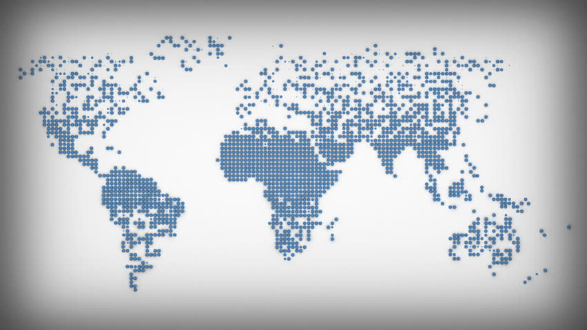 Different icons form the world map silhouette on grey background blue earth continets scan hd stock video clip gumiabroncs Gallery