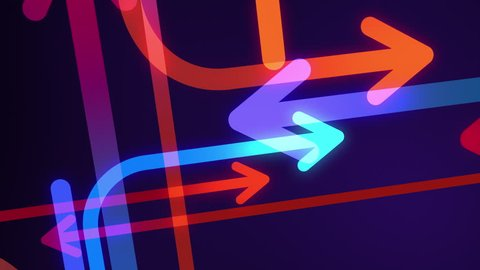 Abstract arrows background. Loop section from 6:00 to 41:00, so you can extend the animation for as long as you like. Red, blue, cyan, orange arrows following different paths on dark purple background