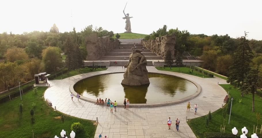VOLGOGRAD, RUSSIA - September 24, 2016: Monuments Stay to Death and Motherland Calls in Mamaev Kurgan, Volgograd, Russia Aerial View