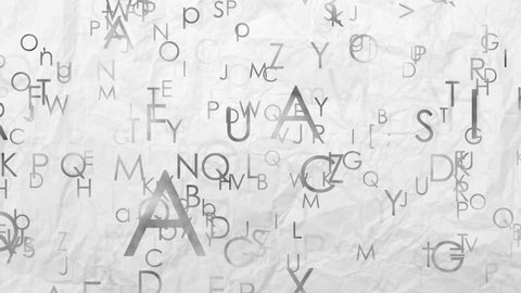 Letters of English alphabet flying from the paper background. Abstract loop seamless animated background, full hd video 1080p.