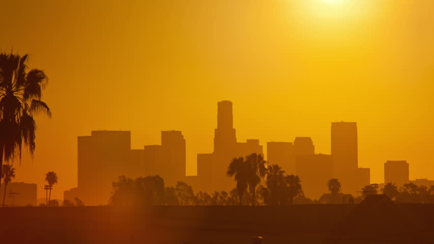 Los Angeles sunrise. Timelapse.