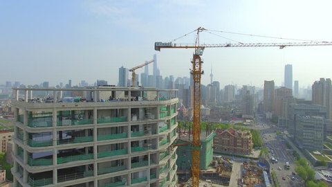 Aerial view of Construction site with The bund in background,Shanghai