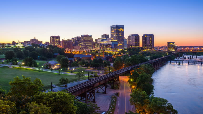 Richmond, Virginia, USA downtown skyline time lapse on the James River. | Shutterstock HD Video #19634965